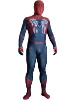Dark Red and Blue Printed S-guy Lycra Zentai Costume with 3D Muscle Shading