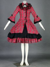 Red And Green Plaid Lolita Dress With Black Trim 28G