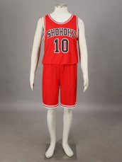 SLAM DUNK- Kaede Rukawa 1G-Shohoku Middle School Basketball Uniform –Red No. 10