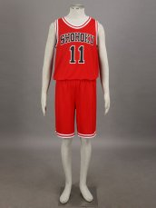 SLAM DUNK- Kaede Rukawa 1G-Shohoku Middle School Basketball Uniform –Red No. 11