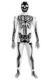 2013 Black and White Skeleton Printed Zentai Suit