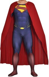 3D Cut Superman Printed Spandex Lycra Costume with Rubber Chest Symbol and Cape