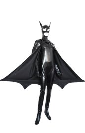 B-guy Costume | Black Spandex Lycra Zentai Suit with Cape