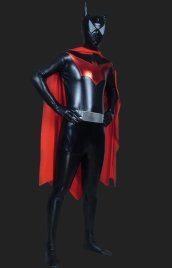 Bat Man! Black and Red Shiny Metallic Full-body Zentai Suits