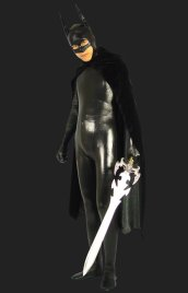 Bat Man! Black Shiny Metallic Full-body Zentai Suits with Cape
