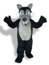Black And Grey Long-furry Wolf Mascot Costume