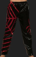 Black and Red Shiny Metallic Spider Wrestling Pants