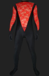 Black and Red Spandex Lycra and Lace Catsuit without Hood
