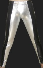 Black and Silver Shiny Metallic Tight Wrestling Pants