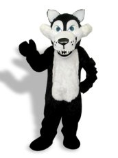 Black And White Long-furry Wolf Mascot Costume