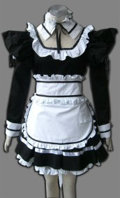 Black And White Long-Sleeve Lotita Costume
