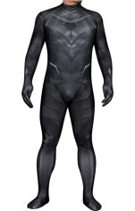 Black Panther Printed Spandex Lycra Costume No Necklace with 3D Muscle Shading