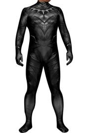 Black Panther Printed Spandex Lycra Costume with 3D Muscle Shading