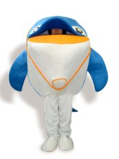 Blue,White And Orange Short-furry Dolphin Mascot Costume