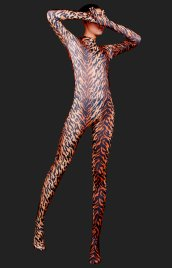 Brown Tiger Stripes Full-body Spandex Lycra Unisex Zentai Suit/Zentai Suits