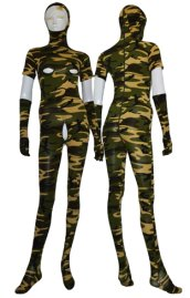 Camouflage Lycra Zentai with Open Face, Chest Zipper and Crotch Zipper