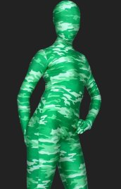 Camouflage Unisex Lycra Spandex Full-body Zentai Suit(Light Green)