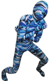Camouflage Zentai Suit | Blue and Dark Blue Spandex Lycra Zentai Suit