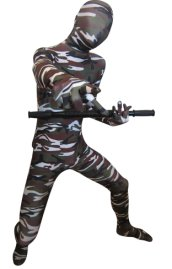 Camouflage Zentai Suit | Dark Green and Brown Spandex Lycra Zentai Suit