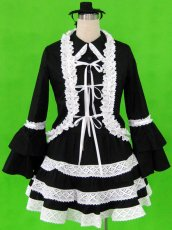 Classic Black And White Tiered Layered Lolita Dress