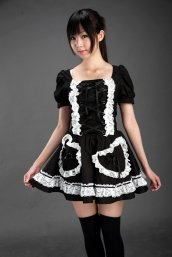Cute Black Lace-UP And White Lace Trim Cosplay Lolita Dress