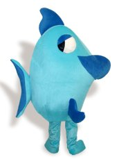 Cute Green,White And Blue Short-furry Flounder Mascot Costume