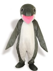 Dark Grey And Pink Short-furry Sea Animal Mascot Costume