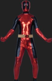 Deadpool-Black and Red Shiny Metallic Full Body Zentai Costume
