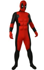 Deadpool Costume | Black Matte Metallic and Red Spandex Lycra Zentai Suit