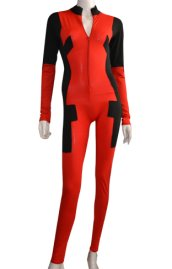 Deadpool Costume | Front Open Catsuit without Hood Hand Feet