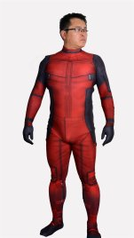 Deadpool Costume | Printed Spandex Lycra Zentai Suit with 3D Muscle Shades no Hood