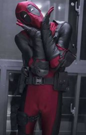 Deadpool Costume with Gear | Dark Red and Black Piping Sewn with 7 Sets Hoods