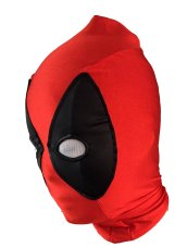 Deadpool Hood | Red Spandex Matte Black Metallic Spandex Mesh Eyes Hood With Peak
