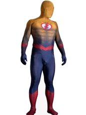 Flash Costume | Wheat and Dark Blue Printed Spandex Lycra Bodysuit with 3D Muscle Shading