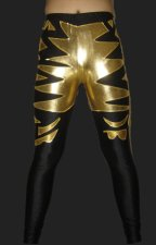 Gold and Black Lycra and Shiny Metallic Wrestling Pants