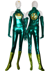 Green and Gold Shiny Metallic Superhero Costume