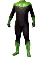 Green Lantern Costume | Printed Spandex Lycra Bodysuit with 3D Muscle Shading