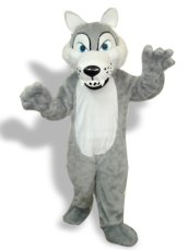 Grey And White Long-Furry Wolf Mascot Costume