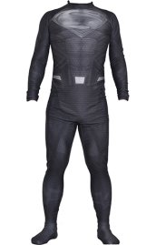 Grey Superman Costume | Printed Spandex Lycra with 3D Muscle Shading