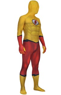 Kid Flash Printed Spandex Lycra Costume with 3D Muscle Shadings