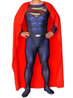 Man of Steel Superman Costume | Printed Spandex Lycra with 3D Muscle Shading and Cape