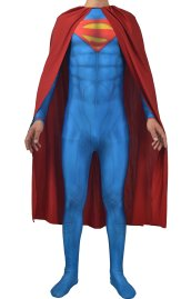 New 52 Superman Printed Spandex Lycra Costume with Cape