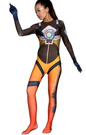 Overwatch Tracer Printed Spandex Lycra Costume with 3D Muscle Shading