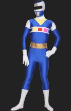 Power Ranger- In Space Blue and White Spandex Lycra Catsuit