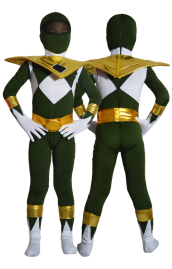 Power Ranger Kids Costume-Mighty Morphin Green and Gold Lycra Zentai Suit