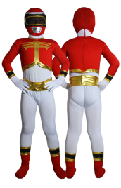 Power Ranger Kids Costume- Red and Gold Spandex Lycra Catsuit