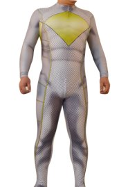 Power Ranger | Printed Grey and Yellow Spandex Zentai Suit