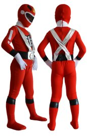 Power Rangers Kids Costume | Red and Silver Spandex Lycra Zentai Suit