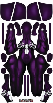 Purple Female Symboite Spider Gwen Printed Spandex Lycra Costume with Hood