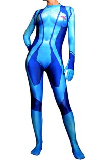 Samus Aran Zero Printed Spandex Lycra Costume with 3D Muscle Shades